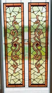 Pair Victorian C1800s Stained Glass Transom Sidelight Windows W Jewels Restored