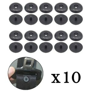 10 Pairs Seat Belt Button Buckle Stop Universal Fit Stopper Kit Black Replace