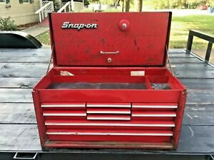 Vintage Red 9 Drawer Snap On Tool Box Chest 9 Drawer 26 Long 14 Tall