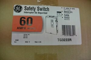 New In Box Ge Tg3222r 60 Amp 2 Pole 240 Volt Fusible Outdoor 3r Disconnect