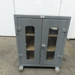 Strong Hold 2 Shelf Double Door Industrial Tool Parts Storage Cabinet 36x24x42