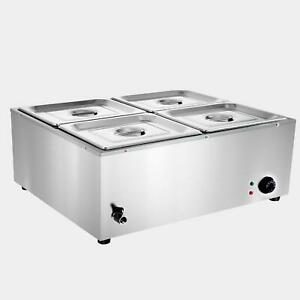 Commercial Buffet Food Warmer Bain Marie Stainless Steel Steam 4 Pots Soup 110v