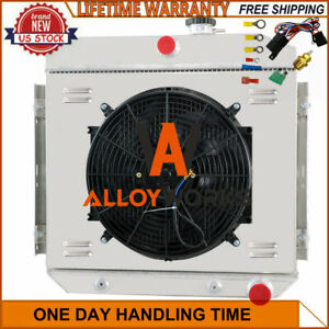 3 Rows Radiator Shroud Fan Thermostat For 1955 1957 Chevy Belair Del Ray L6 V8