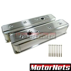 Small Block Chevy Centerbolt Polished Fabricated Finned Valve Cover 383 350 Sbc