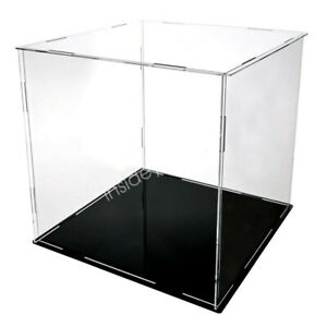 Acrylic Display Case Show Storage Collectibles Model Black Leather Base 10 25cm