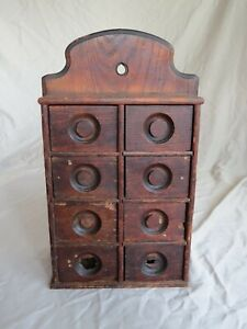 Primitive Antique 8 Drawer Well Used Spice Cabinet Fantastic Worn Patina