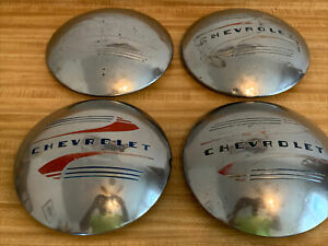 Chevrolet 1941 1948 Car Truck Baby Moon Dog Dish Poverty Hubcaps Oem Gm Set Of 4