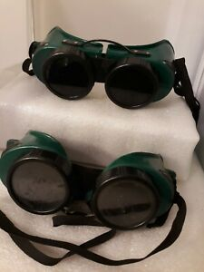 Vtg 2 Welding Safety Goggle Steampunk Glasses Industrial Accessories Usa As Is
