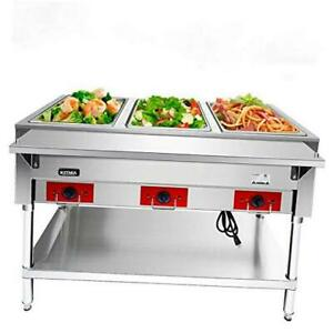 110 V Commercial Electric Food Warmer 3 Pot Stainless Steel 3 Pot Steam Table