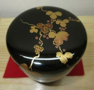 Japanese Wooden Lacquer Makie Tea Caddy Natsume Ivy W Box