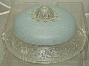 Vintage 1920s 40s Art Deco Painted Blue Glass 10 Ceiling Light Cover Shade