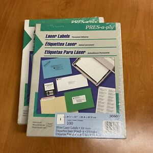 Lot Of 2 Pres a ply Full Sheet Laser Label 8 50 X 11 100 Box New Avery