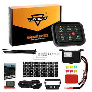 Auxbeam 6 Gang Car On Off Control Switch Panel Green Led For Jeep Toyota Dodge