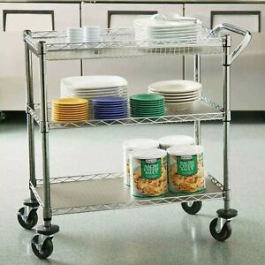 Seville Classics Commercial Utility Cart Wire Shelving 3 Tier 34 X 18 X 34 5