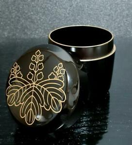 Japanese Wooden Lacquer Makie Tea Caddy Natsume Chrysanthemum Tung W Box 2