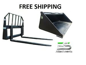 Es 60 Smooth Bucket And 48 Pallet Forks Combo Skid Steer Loader Free Shipping