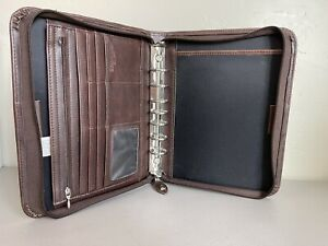 Day timer 10 5 X 8 25 Brown Faux Leather 7 1 25 Ring Planner Binder Guc