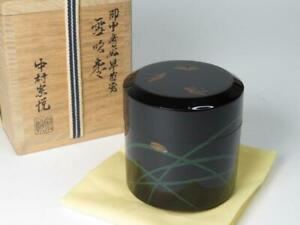Japanese Wooden Lacquer Makie Tea Caddy Natsume Firefly W Box