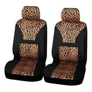 Autofan Leopard Print Front Car Seat Covers Cute Bucket Seat Covers For Cars