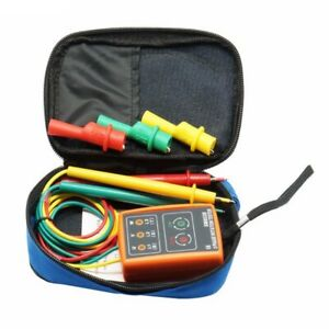 New 3 Phase Sequence Rotation Tester Indicator Detector Meter Led Buzzer With T1