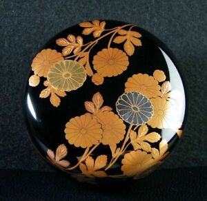 Japanese Wooden Lacquer Makie Tea Caddy Natsume Chrysanthemum W Box