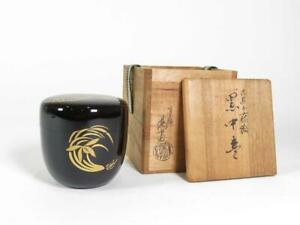 Japanese Wooden Lacquer Makie Tea Caddy Natsume Bamboo Grass Plum W Box