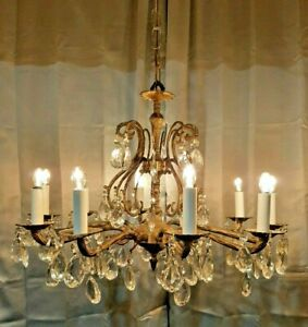 Vintage Spanish Brass French Crystal Chandelier Victorian Style 10 Light 25