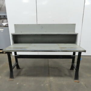 30 X 72 X 34 Tall Vintage Steel Top Work Assembly Drafting Bench Table Shelf
