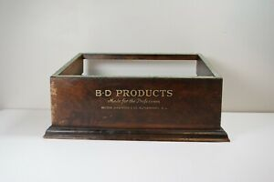 Antique B D Products Becton Dickinson Co Advertising Display Piece Wood Box
