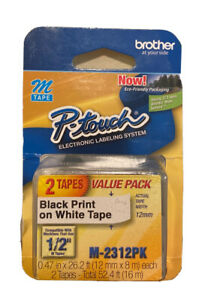 Brother P touch M 2312pk Label Tape 1 2 Black On White 2 pack