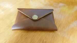 Pocket Leather Business Card Holder Or Wallet Snap Closure New