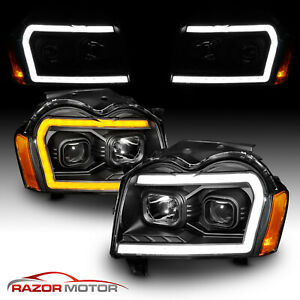 2005 2006 2007 For Jeep Grand Cherokee Led Switchback Black Headlights L R