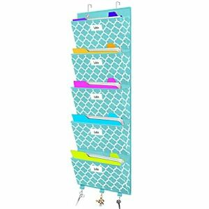 Over The Door File Organizer Hanging Wall Mounted Storage Holder Pocket Chart F