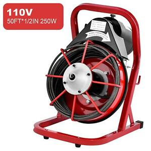 50 X 1 2 Drain Cleaner Cleaning Machine W foot Switch Plumbing Sewer Snake