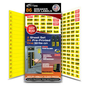 Universal Circuit Breaker Decals For Breaker Box Switches applies To Switch