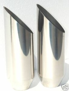 2 Exhaust Tip T304 Stainless Steel 4 Od 12 Slant Cut