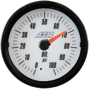 Aem Analog Oil Pressure Gauge 100psi 30 5133w