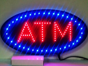 Ultra Bright Led Neon Light Animated Oval Atm Machine Open Sign R86b