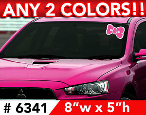 Hello Kitty Bow 2 Color Windshield Decal Sticker 8 Wx5