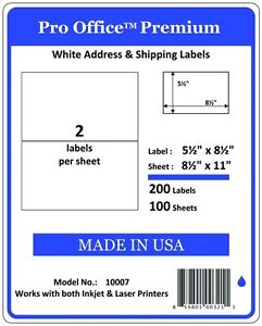 Po07 400 Sheets 800 Labels Pro Office Self adhesive Shipping Label 8 5 X 5 5
