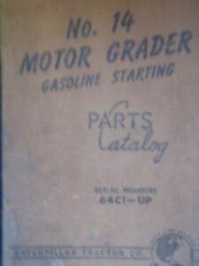 Caterpillar Cat No 14 Motor Grader Parts Catalog