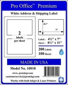 Po18 1200 Premium Shipping Labels Self Adhesive Half Sheet 7 X 4 5 Pro Office