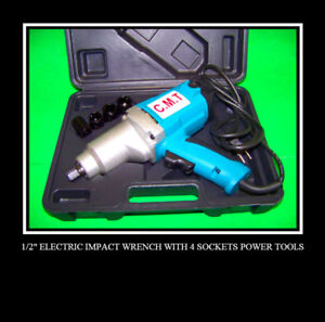 2 New 1 2 Electric Impact Wrench With 4 Sockets Tools