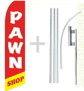 Pawn Shop Swooper Flag Kit Feather Flutter Banner Sign 15 Tall Rb