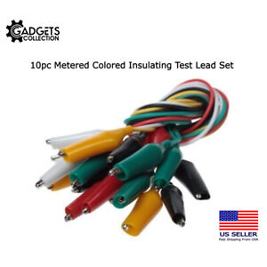 10pc Metered Colored Insulating Test Lead Cable Set Double Ended Alligator Clips