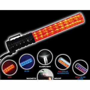 Crossing Guard Traffic Safety Police Night Led Baton Light Hand Wand Red Blue
