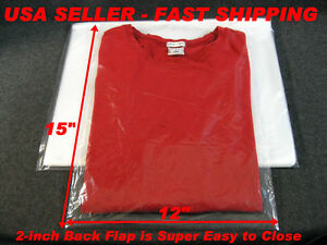 100 Lot 12x15 Clear Poly Plastic Bags With 2 Back Flap T Shirt Dress Shirt