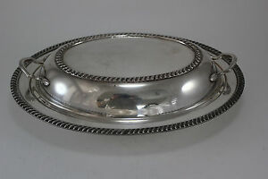 Vintage Ornate Silver Plate Oval Serving Bowl With Lid Cover Lowered Handles