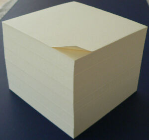 Ivory Note Paper Cubes 3 1 2 X 3 1 2 Glued On 1 Side Ready To Custom Stamp