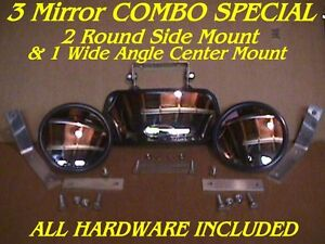 3 Skidsteer Mirrors 2 Side 1 Center Skid Steer Loader Fits Bobcat Gehl Cat Etc